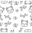pattern panda and bamboo hand draw vector image