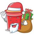 santa with gift bucket character cartoon style vector image