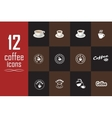 Set of coffee icons on the dark background vector image