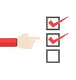 Business important checklist forefinger vector image