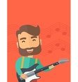 Musician is playing electrical guitar vector image