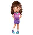 A cute schoolgirl vector image vector image