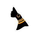 african american woman profile black silhouette vector image vector image