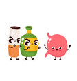 angry scary alcohol bottle and stomach vector image vector image
