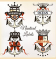 antique nautical logotypes or label with anchor vector image vector image