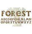 antique wood font for forest posters decorative vector image vector image