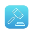 Auction gavel line icon vector image