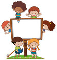 banner template with happy kids vector image vector image