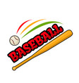 baseball bat and ball sign vector image vector image