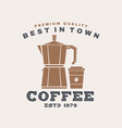 best in town coffee retro badge design vector image
