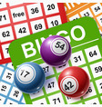 bingo balls on a background cards vector image vector image