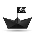 black paper boat with a pirate flag white vector image vector image
