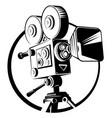 black retro movie camera on a tripod vector image vector image