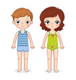 boy and a girl are standing on a white background vector image vector image
