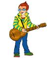 Boy holding a guitar vector image