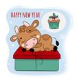 bull 2021 dreams a christmas present vector image vector image