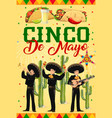 cinco de mayo poster with mariachi band vector image vector image