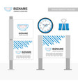 company ad banner design with blue theme and vector image