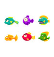 cute colorful little glossy fishes set funny big vector image vector image