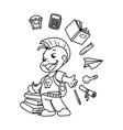 cute school kid ready to education vector image vector image