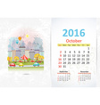 Cute sweet cityscape calendar for 2016 October vector image vector image
