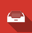 drawer with documents icon with long shadow vector image vector image
