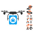 drone cannabis delivery icon with lovely bonus vector image vector image