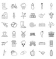 farming icons set outline style vector image vector image
