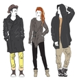 Fashion man and woman sketch vector image vector image