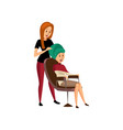 female hairdresser serving client professional vector image vector image