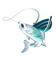 fish and fishing boat vector image vector image
