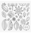 Floral line elements set vector image vector image