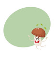 funny porcini mushroom character jumping from vector image vector image