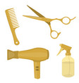 hairdressing equipment gold colored vector image vector image