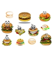 Happy takeaway cartoon hamburger characters vector image vector image