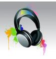 headphones brush paint vector image