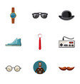 hipster equipment icons set cartoon style vector image vector image