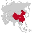 Location of China vector image