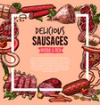 meat beef and pork sausage poster food design vector image vector image