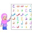 muslim girl teaching arabic alphabet vector image vector image