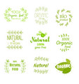 natural fresh product stickers and labels food vector image vector image