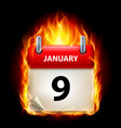 ninth january in calendar burning icon on black vector image vector image