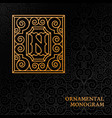 ornamental monogram vector image vector image