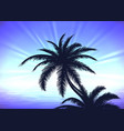Palm tree on blue sunrise background vector image