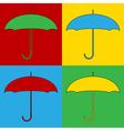 Pop art umbrella icons vector image vector image