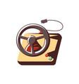 retro car wheel video game control vector image vector image