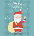 santa with bell and bag celebration happy vector image vector image