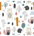seamless childish pattern with cute bear fox vector image vector image