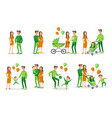 set characters family creation birth of vector image vector image