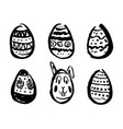 set hand drawn easter eggs sketches vector image